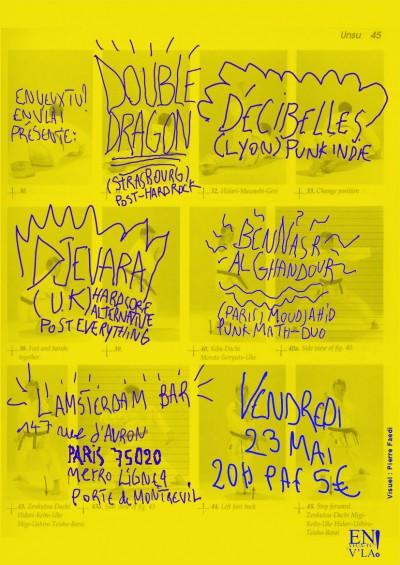 [#275] Double Dragon + Djevara + Decibelles + BenNasr AlGhandour @ L'Amsterdam Bar // vendredi 23 mai