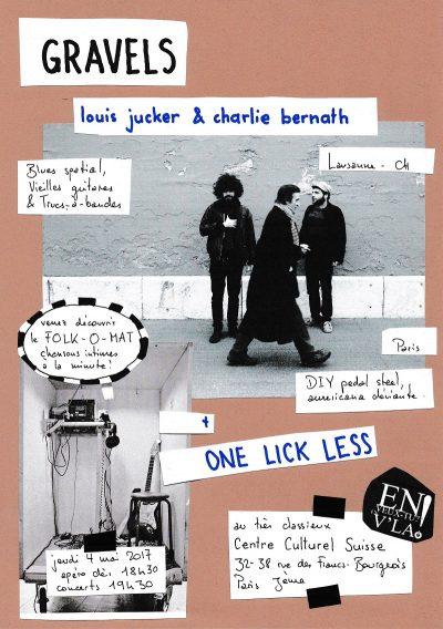 jeudi 4 mai : EVTEVL est invité au Centre culturel suisse (Gravels + One Lick Less)