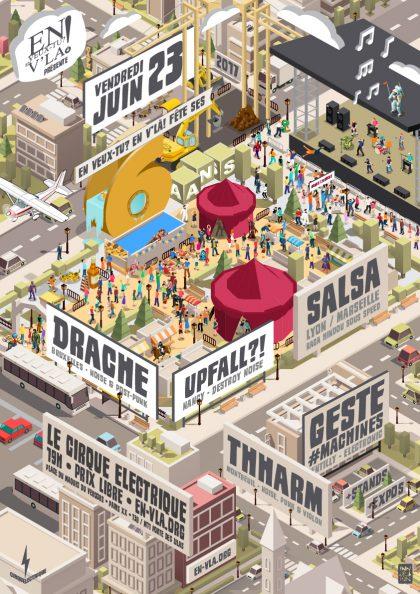 Les 6 ans d'En veux-tu? En v'là! avec Drache + Upfall?! + Salsa + Thharm + Geste #Machines @ Le Cirque Electrique // vendredi 23 juin