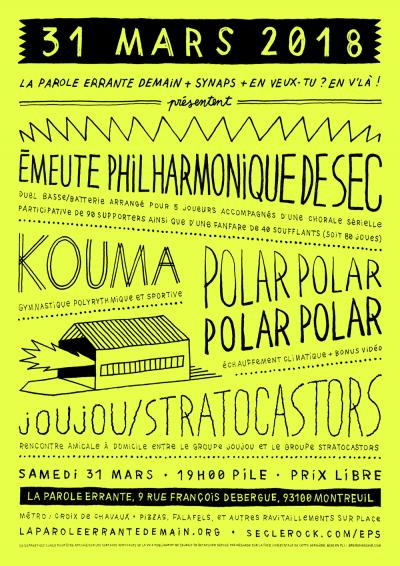 [#509] L'Émeute Philharmonique de SEC @ La Parole Errante // samedi 31 mars