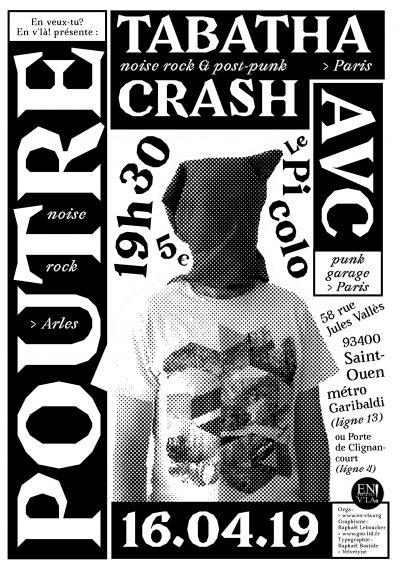 [#578] Poutre + Tabatha Crash + AVC @ Le Picolo // mardi 16 avril